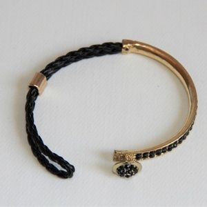 Jewelry - Braided Leather, Polished Gold and Black Bracelet